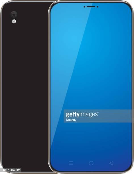 full screen mobile phone - back stock illustrations