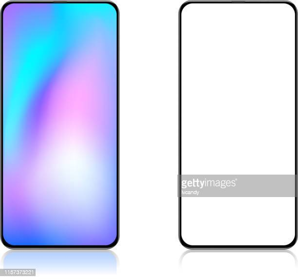 full screen smartphone - two objects stock illustrations