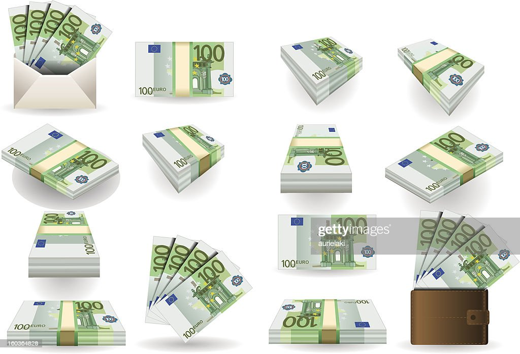 full set of hundred euros banknotes