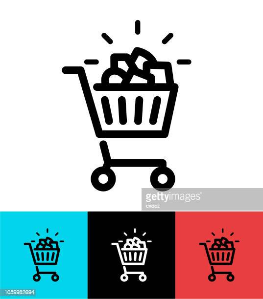 full shopping cart icon design - full stock illustrations