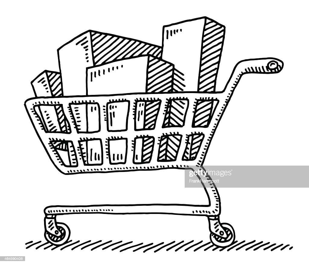 This is a graphic of Peaceful Shopping Cart Drawing