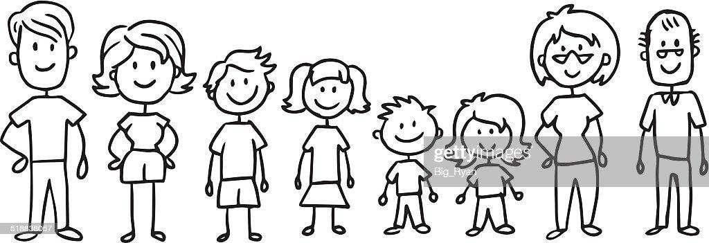 full stick family : stock illustration