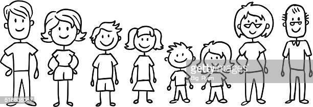 full stick family - stick figure stock illustrations
