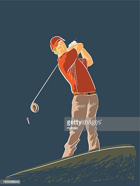 full swing - teeing off stock illustrations, clip art, cartoons, & icons