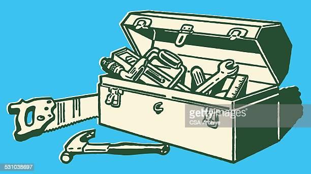 ilustraciones, imágenes clip art, dibujos animados e iconos de stock de caja de herramientas completo - caja de herramientas