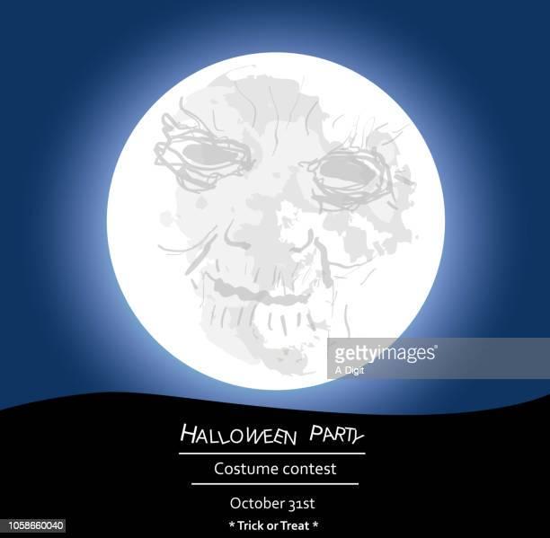 fullmoondeathfigure - man in the moon stock illustrations, clip art, cartoons, & icons