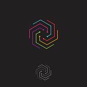Fun and colorful modern hexagon vector concept design