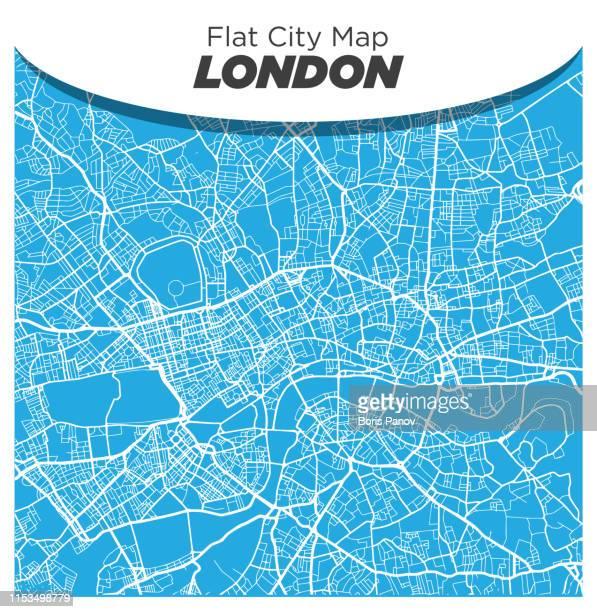 青の背景にロンドンイングランドの楽しさと創造的なフラットストリートマップ - 北点のイラスト素材/クリップアート素材/マンガ素材/アイコン素材