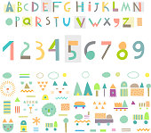 Fun and cute paper cut alphabet and figures. Isolated. Vector