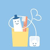 Fun and cute set for hygiene of oral cavity