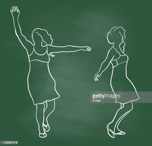 fun and free feeling chalkboard - mature adult stock illustrations