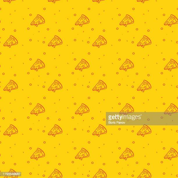 fun and modern seamless pattern of a pizza on a funky bright orange background - pizza stock illustrations