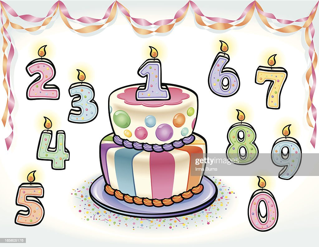 Fun Birthday Cake With Numbers Vector Art Getty Images
