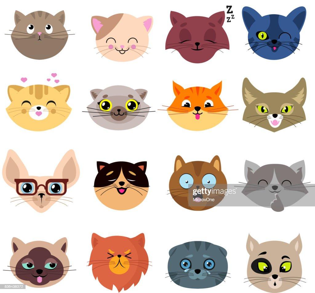 Fun cartoon cat faces. Cute kitten portraits vector set
