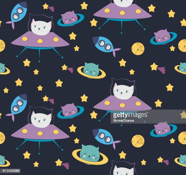 Lustige Katze Astronaut im Weltraum Muster