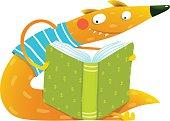 Fun colorful fox reading kids book.