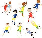 Fun Cute Cartoon vector soccer football players