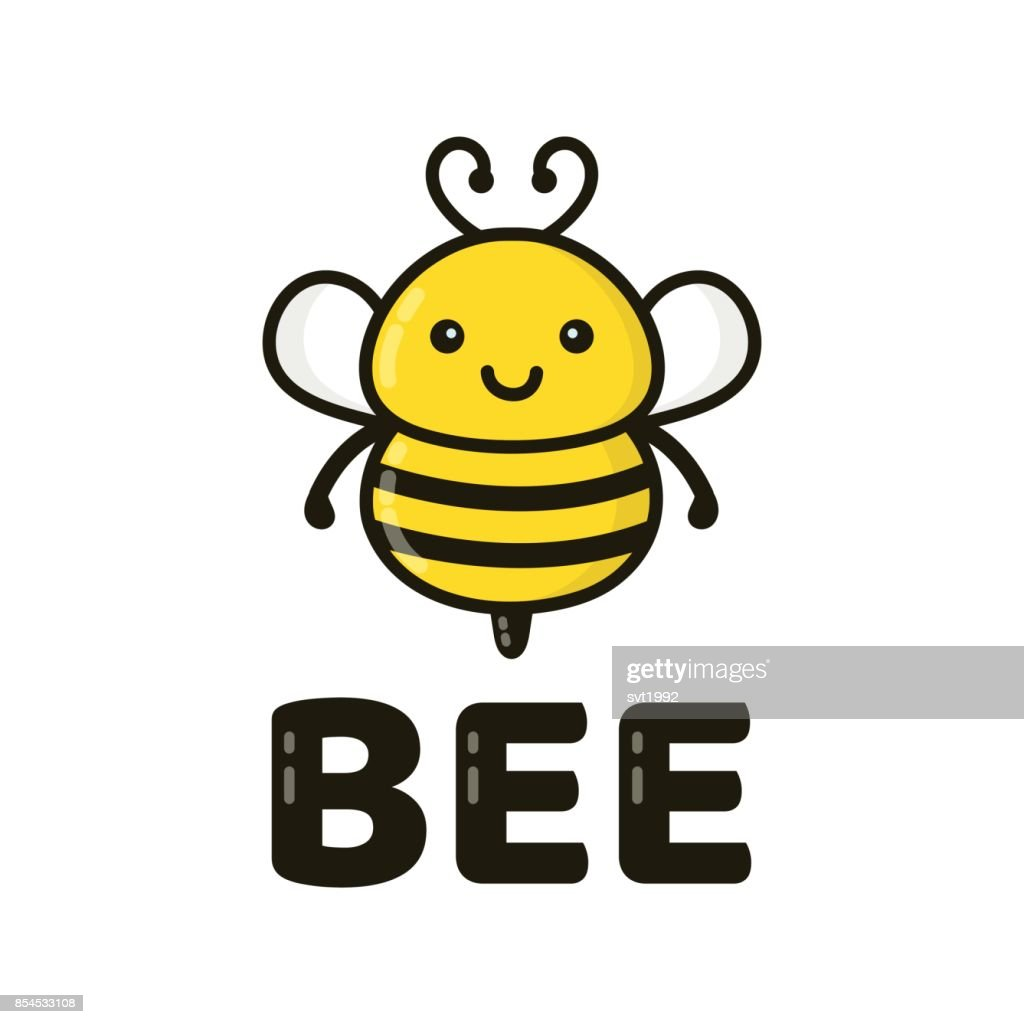 Fun cute happy smiling bee. Vector