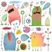 Fun Cute Monsters for Kids Design Colorful Collection with Flowers