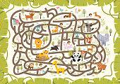 Fun Educational Animal Wildlife Theme Maze Puzzle Games For Children Illustration