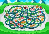 Fun Educational Delicious Urban City Restaurant Theme Maze Puzzle Games For Children Illustration