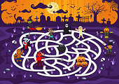 Fun Educational Scary Graveyard Character Theme Maze Puzzle Games For Children Illustration