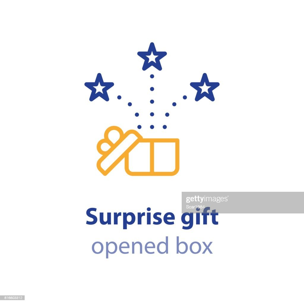 Fun experience, celebration event, receive gift box, open present