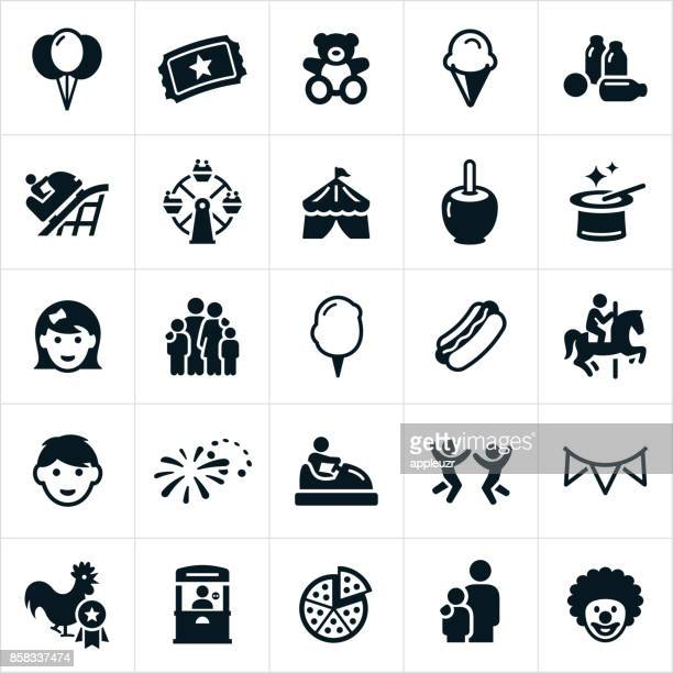 fun fair icons - tent stock illustrations, clip art, cartoons, & icons