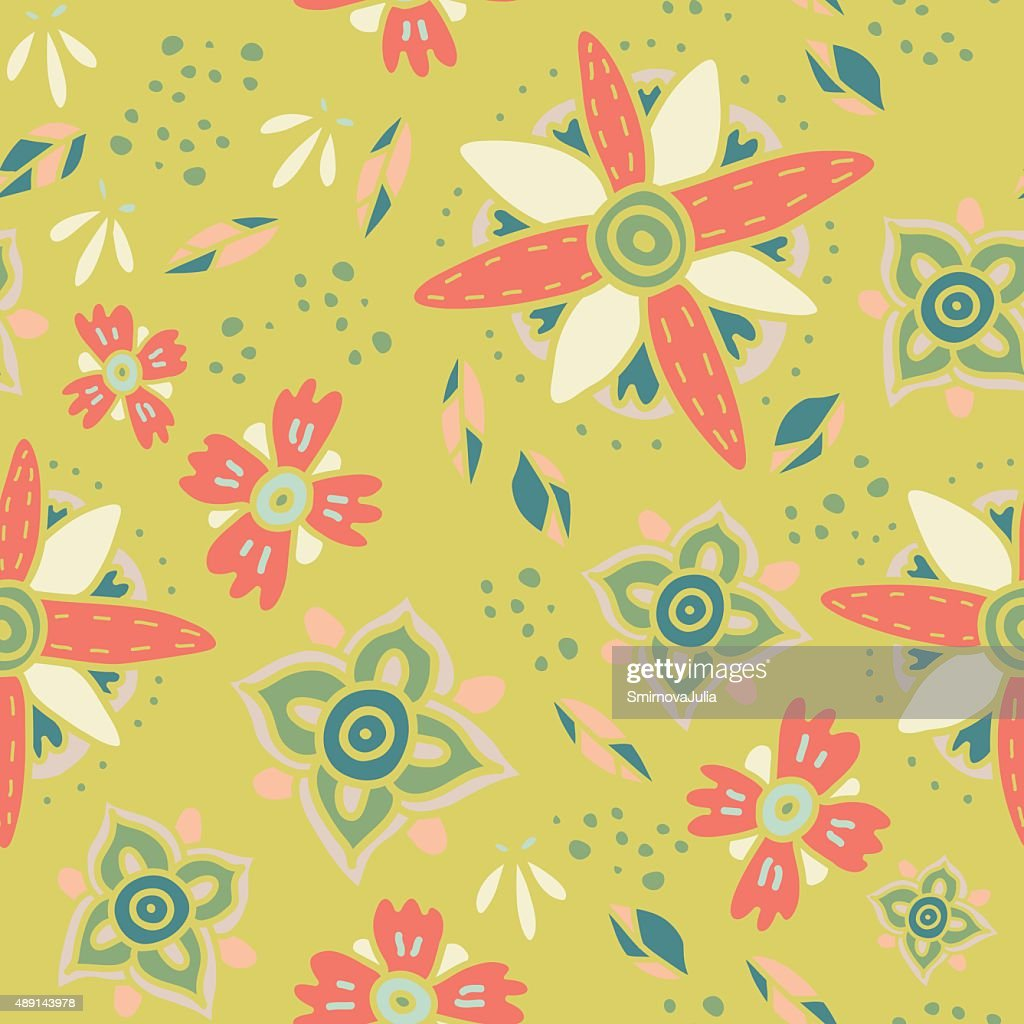 Fun floral autumn background. Seamless vector pattern. Pastel colors.