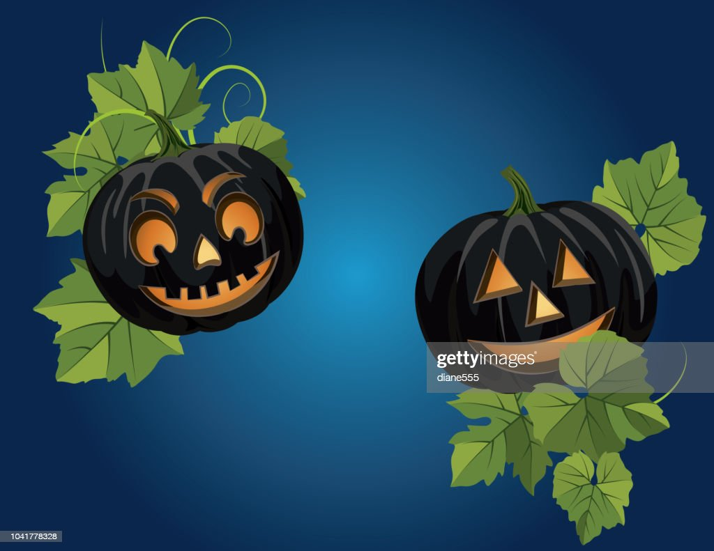 Fun Halloween Background With Pumpkins And Jack O Lantern High Res Vector Graphic Getty Images