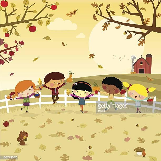 Fun harvest. kids fall autumn illustration vector