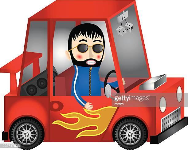 fun illustration, customised car & driver. - bling bling stock illustrations, clip art, cartoons, & icons