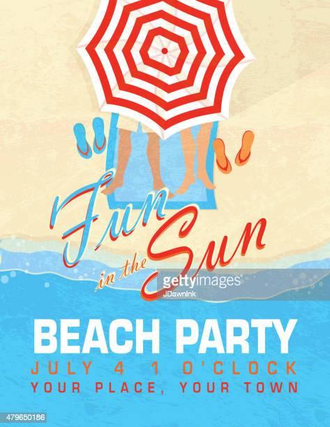 Fun in the Sun sand Beach party template invitation design