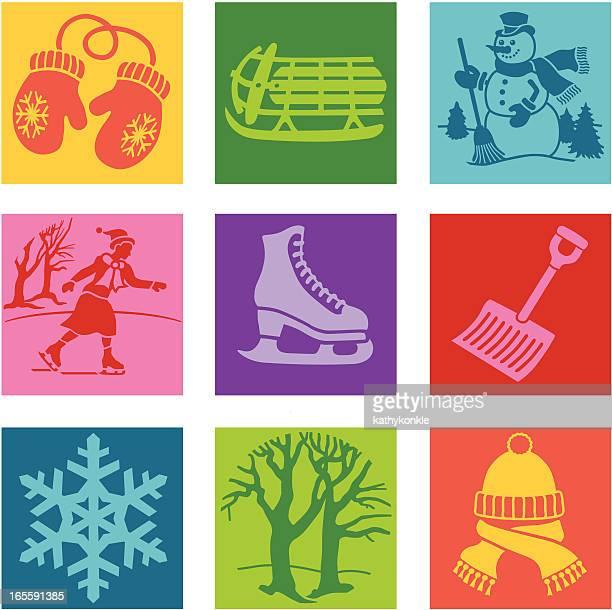 fun in the winter pop art - snow shovel stock illustrations