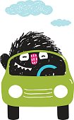 Fun Monster Driving Car Cartoon for Kids