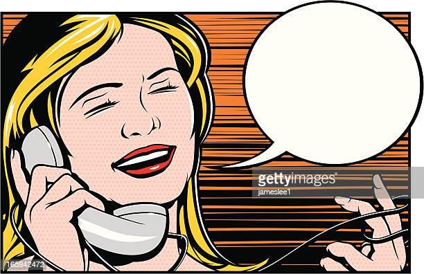 ilustrações de stock, clip art, desenhos animados e ícones de diversão no telefone - loira
