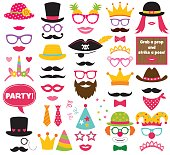 Fun party hats, vector photo booth props