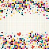 fun pixel squares note paper background