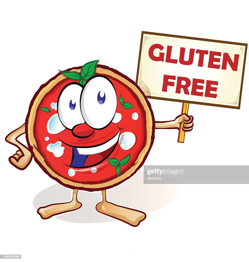 fun pizza cartoon with gluten free signboard
