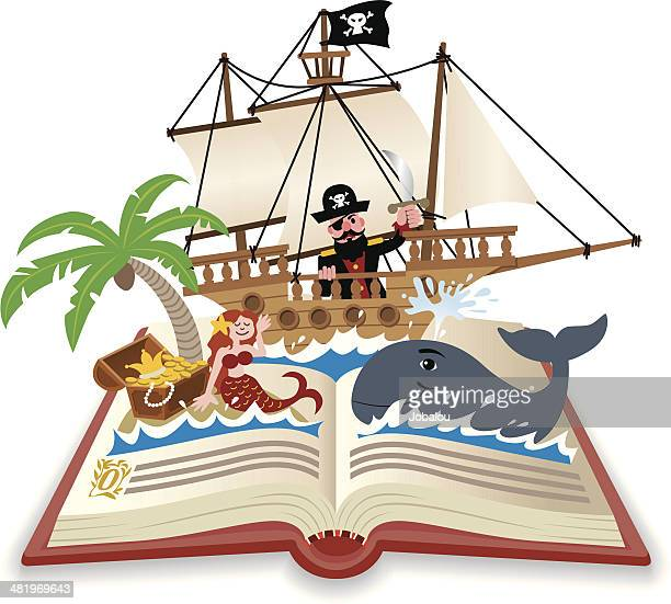 fun pop up book adventure on the sea - pirate boat stock illustrations, clip art, cartoons, & icons