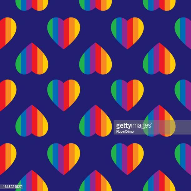楽しいレインボーストライプハートシームレスパターン - 結婚の平等点のイラスト素材/クリップアート素材/マンガ素材/アイコン素材