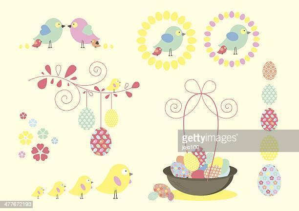 ilustrações, clipart, desenhos animados e ícones de divertimento retrô símbolos e ícones de páscoa - cesta de páscoa