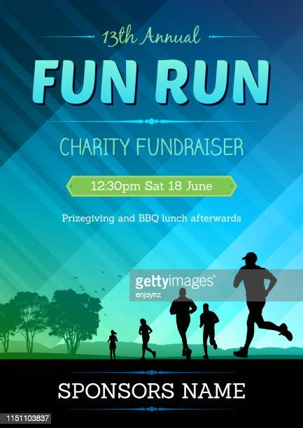 fun run poster - flyer leaflet stock illustrations