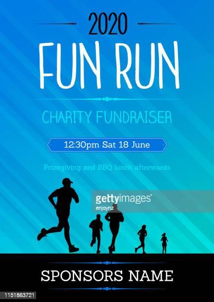 fun run poster - marathon stock illustrations