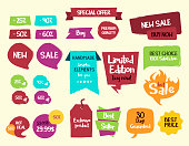 Fun sale tags and labels. Vector hand drawn graphic elements editable in eps10