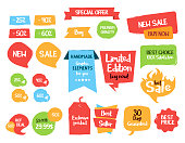 Fun sale tags and labels. Vector hand drawn graphic elements