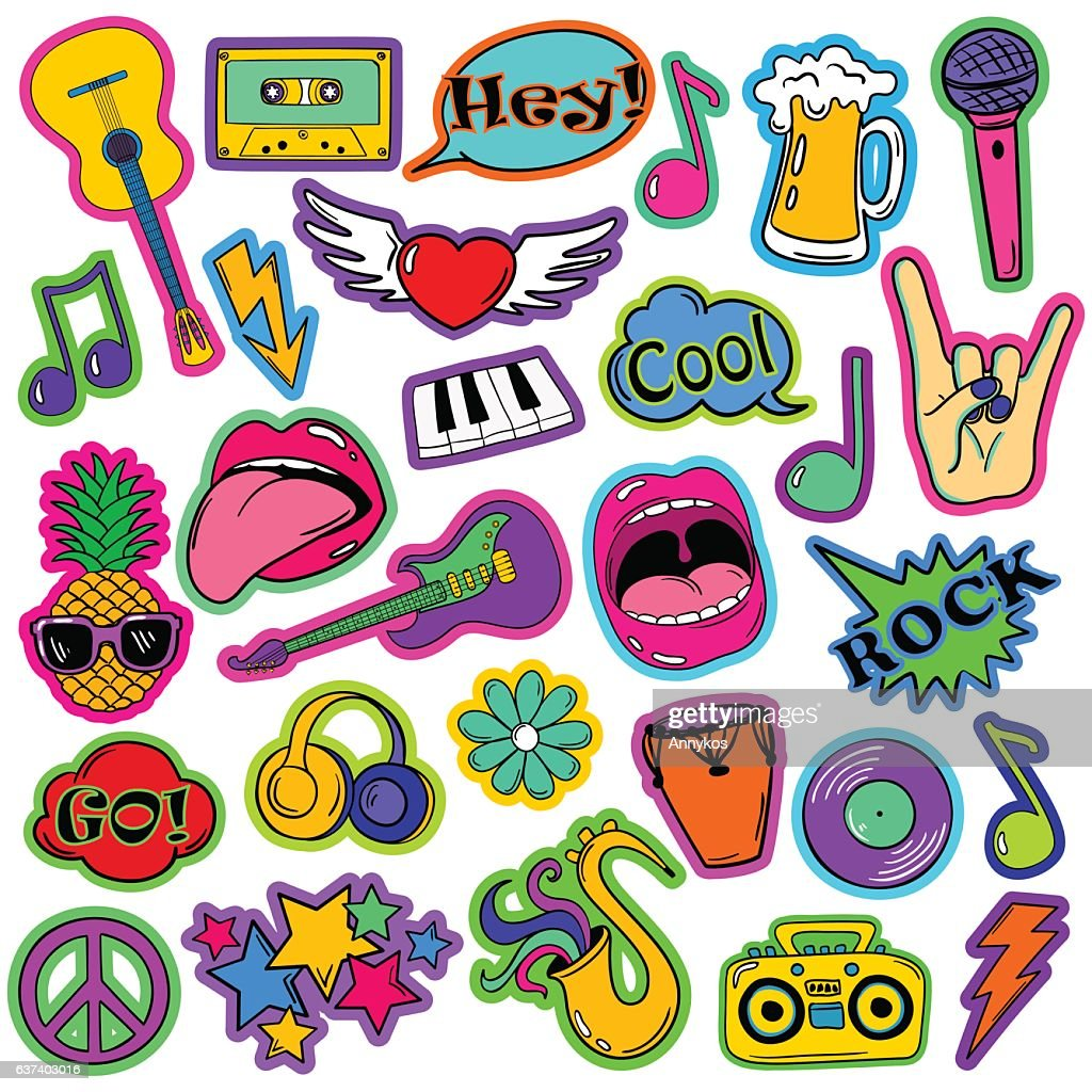 Fun Set Of Cartoon Musical Stickers.
