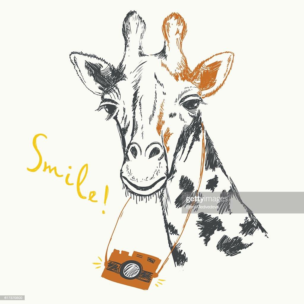 Fun sketch illustration of a giraffe photographer.