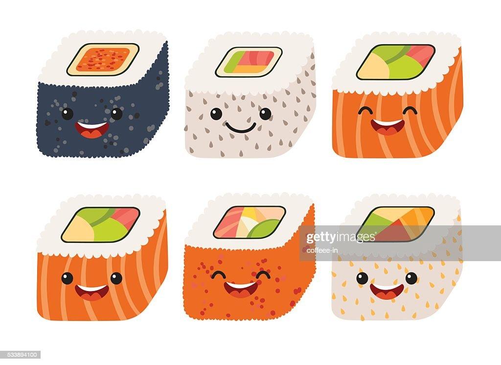 Fun sushi vector. Cute sushi with cute faces. Sushi roll
