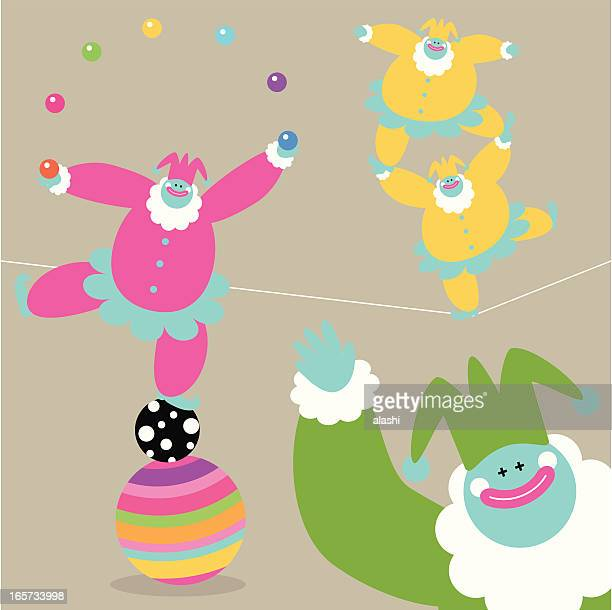 fun time with clowns - drive ball sports stock illustrations, clip art, cartoons, & icons